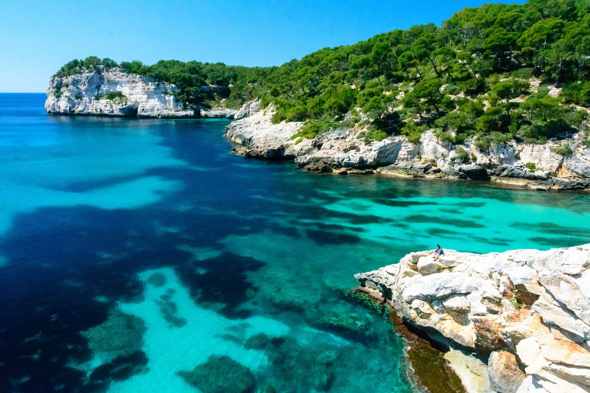 Menorca swimming in clear waters