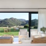 Closeup view of luxury rental villa - the living room and views of Son Felip beyond