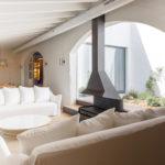 Lodge living room and chimney at the Son Felip Menorca farmhouse